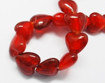 Red Glass Lampwork Hearts - 12mm - Set of 12