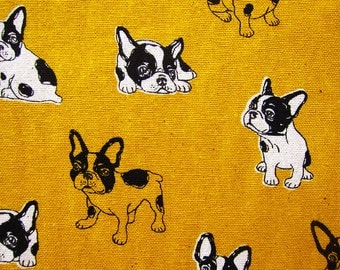 Animal Print Fabric - French Bulldogs on Golden Yellow - Cotton Linen Blend Fabric By The Yard - Half Yard