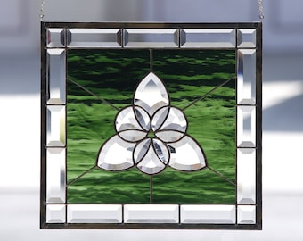 CELTIC CIRCLES~Large Stained Glass Window Panel, Clear Beveled Celtic Tri-Circle, Emerald Green, Irish, Celtic, Metaphysical
