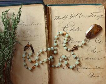 Rowan Rosary. Rustic Bohemian Rosary Style Vintage Brass, Jade, Spessarite & Pietersite Necklace.