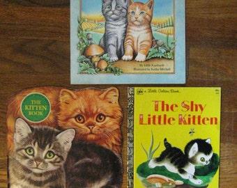Three Little Golden Books - Shy Little Kitten, Kittens, Kittens, Kittens, and The Kitten Book