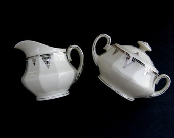 Exquisite Art Deco Creamer & Sugar Bowl w/ Lid: 1930's Deauville by Community China, Cream with Platinum Trim, Vintage Wedding China