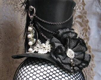 Black Leather Mini Top Hat
