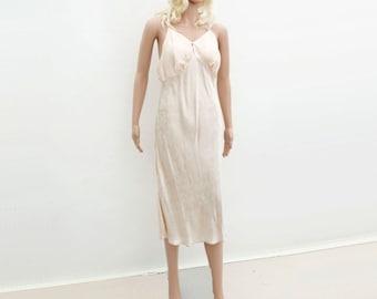 Vintage Peach Slip, 1960s does 30s Slip, Boho Slip Dress, Bias Damask Slip, 60s  Ecru Slip Dress, , 1960s Ecru Slip, m