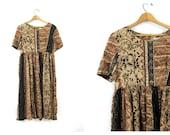 Rayon Dress Loose Fit Midi Boho Dress floral Print brown black Dress Bohemian Sack Grunge Lounge Summer Dress Vintage size 8 Medium