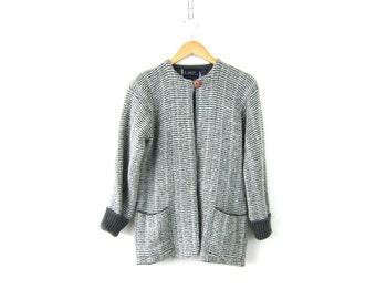 Gray Sweater Coat Thick Knit Blanket Coat 80s caridgan Blazer Sweater Gray & White Jacket Soft and Cozy with Pockets Women's medium Large
