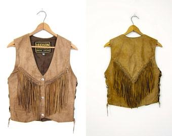 Fringed 80s Leather Vest Vintage HUDSON LEATHER Rocker 1980s Western Sleeveless Jacket Brown Snap Up Biker Vest Hipster Womens XS Small