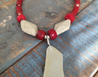 SALE Large White/Yellow Genuine Found Sea Glass w Red Coral Necklace