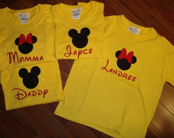 Custom made boutique appliqued embroidered monogrammed Disney Mickey or Minnie Mouse t shirt  short sleeve girls or boys