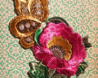 Vintage Applique 1920s 1930s Sew On Fabric Applique Butterfly Flower Embroidered Silky Floral 20s 30s Dress Trim Bright Pink Mustard Yellow