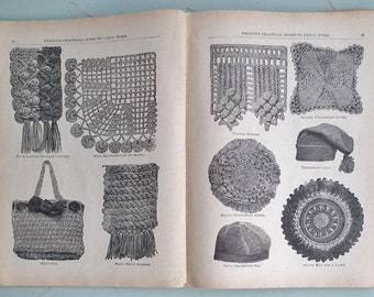 Weldon's Practical Shilling Guide to Fancy Work antique needlecraft book needlework knitting patterns crochet lacemaking embroidery beadwork