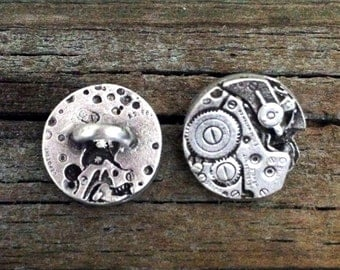 2 Steampunk Watch Pewter Shank Buttons 5/8 Inch (16 mm)