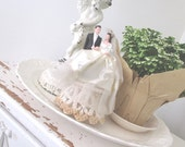 Vintage Wedding Cake Topper * Chalkware * Sugar Base * c1940 * Bride Groom