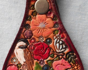 Leather Key Fob with Pastel Flowers Butterfly Bird Ladybug with Maroon Border Made in GA USA OOAK