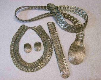 Silver Tone Woven Wire Set Wow / Necklace - Bracelet- Earrings- Belt