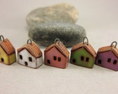 READY TO SHIP...5 (five) Miniature House Charms in Terracotta