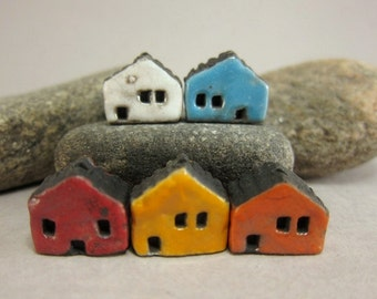 5 Saggar Fired Miniature House Beads...White Blue Red Yellow Orange