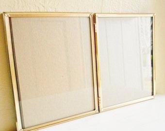 Beautiful Vintage Folding 8x10 Gold Filigree Metal Picture Frame Bi-fold