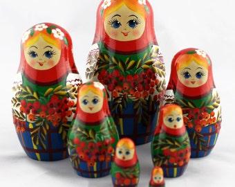Russian Wooden Nesting Dolls Matryoshka Babushka Handicrafts Russia Gifts Sale Home Decor Set 7pc