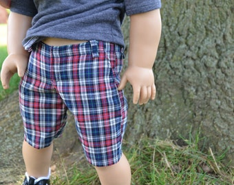 18 inch Doll Clothes, Plaid Long Shorts, Red White Blue, Boy Doll Clothes, fits American Girl