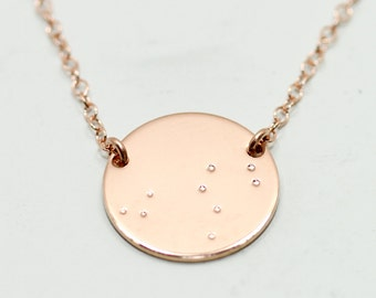 Rose gold constellation necklace - rose gold necklace - rose gold jewelry - constellation jewelry - gold disc necklace - astrology jewelry
