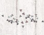 Silver Wedding Confetti - Geometric Triangle Confetti - Metallic Silver Confetti - Wedding Table Decor - Metallic Silver Gray Party Confetti