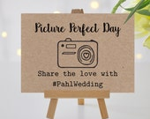 Wedding Hashtag Sign - Custom Wedding Hashtag Sign - Personalized Wedding Hashtag Sign - Rustic Wedding Decor - Country Wedding - Kraft Sign