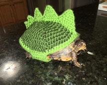 Dinosaur costume for turtles. Stegosaurus Dinosaur Box Turtle Sweater Cozy Green or Black Crochet Pet Lover Gift Dinosaur Costume