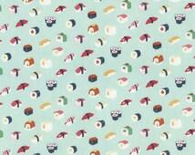 Sushi fabric pale aqua background from Dear Stella