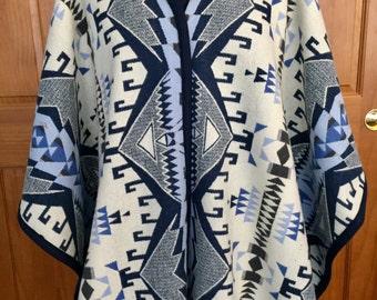 Wool Reversible Long Kimono Shawl / Wrap / Cape / Cloak / Blanket Scarf Southwestern Tribal Handcrafted Using Pendleton Woolen Mill Fabric