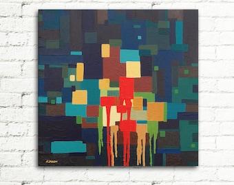 Pixel Art Boys Room Decor Acrylic Painting on Canvas Wall Art, Dark Blue Orange, Geometric Art Party Decor