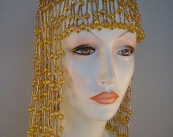 Vintage Antique Roaring Twenties Flapper Cascading Beaded Cloche Hat~Never Worn