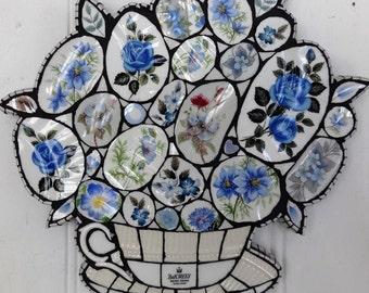 Mosaic Art, Handmade Mosaic, Mosaic Blue Flowers, Crockery Mosaic