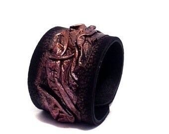 "50% OFF SALE Leather cuff bracelet. ""Casual Elegance"" collection. Leather jewelry"