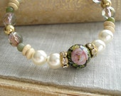 Garden Bracelet. Memory Wire Bracelet. Beaded Bangle Bracelet. Pink Rose Tensha Bead, Pearls, Crystals, Gemstones, Wood, Brass Heart Charm.