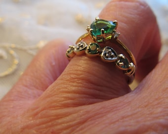 Danusharose Vintage Emerald and Diamond Glass Green Heart Design OOAK SOULMATE Wedding 2 Ring Set with Fine Jewelry Report