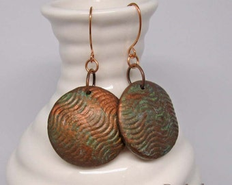 Copper Patina Waves earrings | rustic mixed media dangle earrings on copper wire