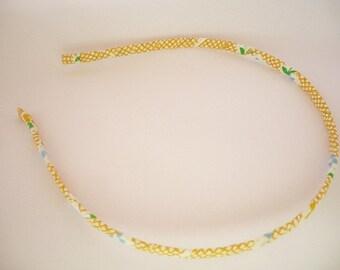 Headband - Yellow fabric headband - Metal headband - Thin headband - Adult headband - Girl headband  - Women headband