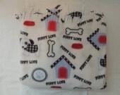 Fleece Blanket -- Valentine Puppy Love
