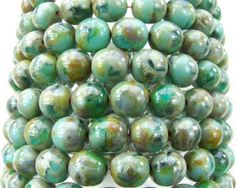 8mm Faceted 2 Tone Opaque Turquoise & Transparent Emerald Picasso Czech Glass Beads - Qty 25 (DW71)