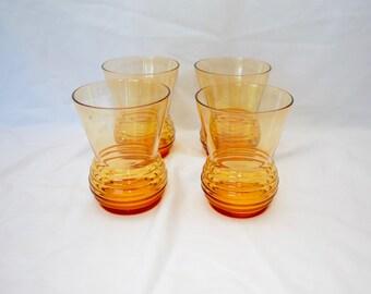 sale Vintage SET OF 4 1970's Glasses tumblers
