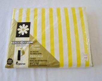 sale Vintage 1950's Penneys Penn-Prest Double Fitted Sheet New in Package Deadstock Yellow Stripe