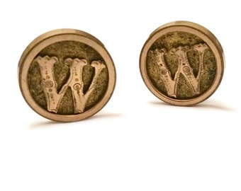 Edwardian Cufflinks, Initial W Gold Filled Cuff Links, Antique Men's Jewelry, Early 1900s Men's Cuff Links, Initialled Monogram Cufflinks