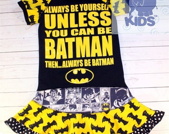 A dress made out of authentic BATMAN tshirt super cool funky recycled upcycled  pieced  size 9/10
