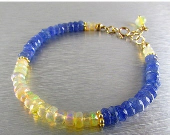 25% Off Summer Sale Ethiopian Opal And Tanzanite Adjustable Stacking Bracelet