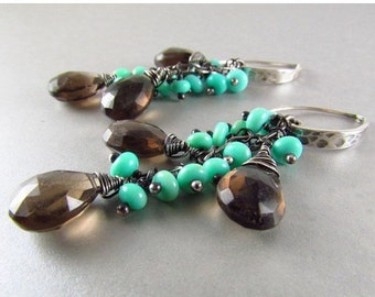 End Of Summer Sale Smoky Quartz and Blue Peruvian Opal Oxidized Sterling Silver Dangle Earrings