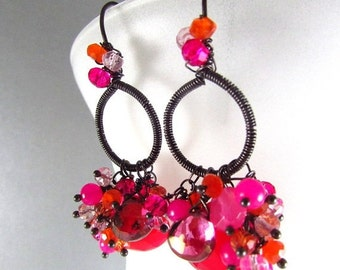 BIGGEST SALE EVER Pink and Orange Chalcedony Mixed Gemstone Earrings