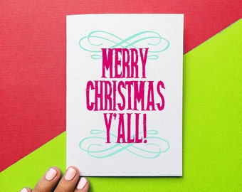 funny christmas card merry christmas y'all holiday card southern christmas greeting stocking stuffer black friday sale cyber monday sale