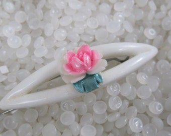 vintage hair barrette , soft white with pink rose