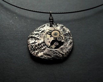 Pendant - Let's Rock the Time - Steampunk, Watch Movement, Silver, modern, unique, art to wear, ooak, contemporary